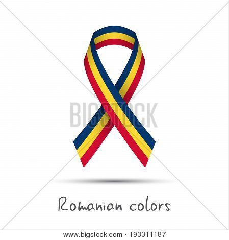 Modern colored vector ribbon with the Romanian tricolor isolated on white background abstract Romanian flag Made in Romania logo