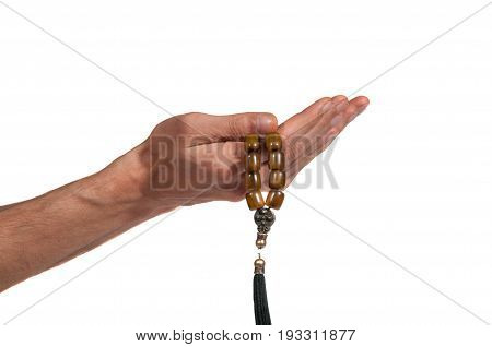 Praying hands. Praying hands with rosary. Isolated on white background. Religion.