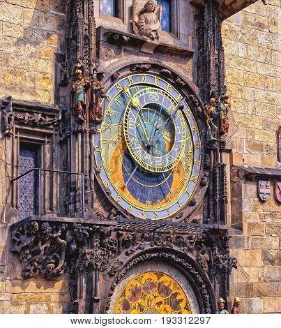Czech Republic. Prague Astronomical Clock - Medieval timepiece on the facade of city hall displaying the twelve apostles as the clock strikes