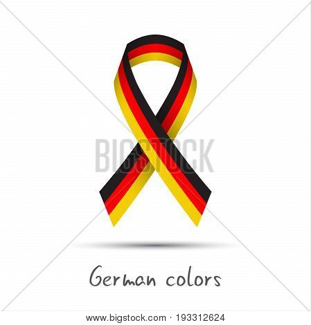 Modern colored vector ribbon with the German tricolor isolated on white background abstract German flag Made in Germany logo