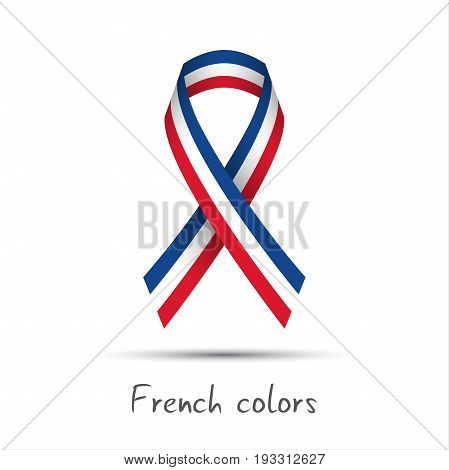 Modern colored vector ribbon with the French tricolor isolated on white background abstract French flag Made in France logo