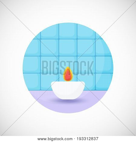 Aroma candle vector flat icon Flat design of spa home or aromatherapy object in the bathroom interior vector illustration with shadows