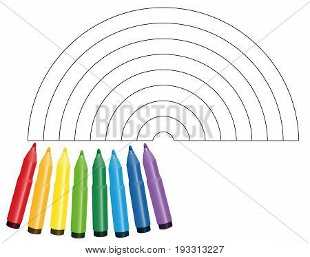 Coloring picture rainbow - with eight colorful markers that show which color to be used - isolated vector illustration on white background.