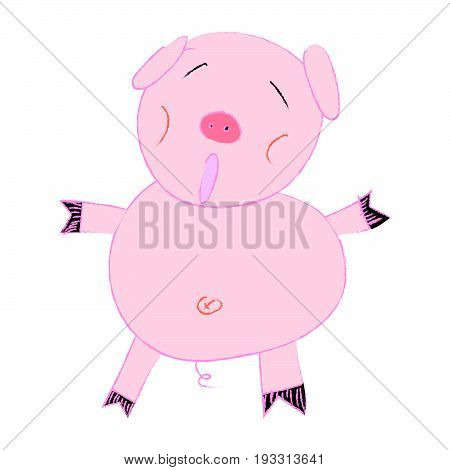 Children Style Cute Pig, Cheerful Pig, Funny Pig Vector