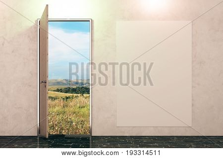 Open door with landscape view in concrete interior with empty poster on wall. Sucess concept. Mock up 3D Rendering