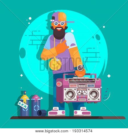 Rapper musician in a baseball cap. Fashionable hip hop man dude. Flat vector character illustration
