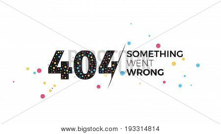 Error 404 page layout vector design. Creative design illustration for broken links and pages. The page you requested could not be found template concept. Typography and abstract round shapes.