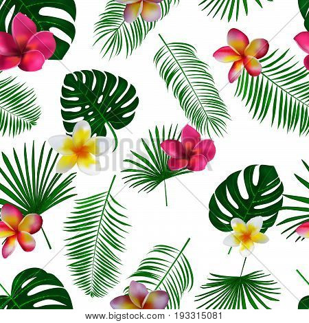 Seamless Hand Drawn Tropical Vector Pattern With Orchid Flowers And Exotic Palm Leaves On White Back