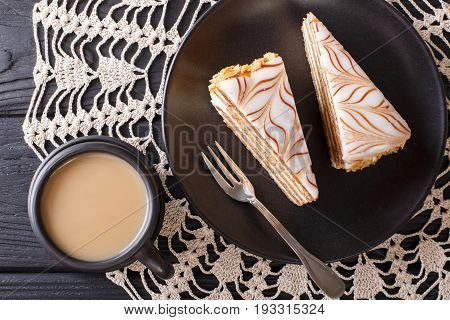 The Cake Of Esterhazy And Coffee With Milk Close-up On The Table. Horizontal Top View