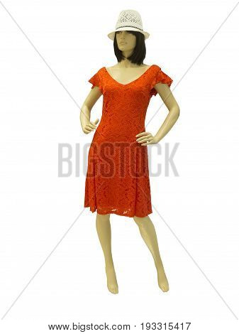 Full-length female mannequin dressed in fashionable summer clothes isolated on white background. No release required. No brand names or copyright objects.