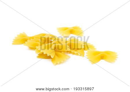 Traditional farfalle pasta isolated on a white background