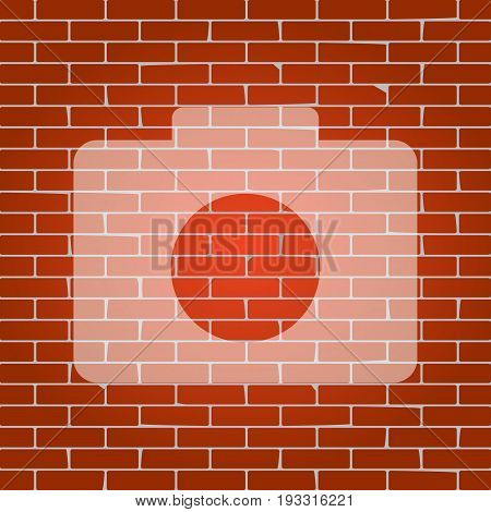 Digital camera sign. Vector. Whitish icon on brick wall as background.