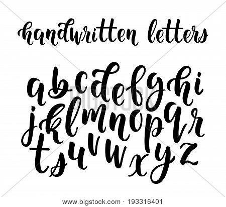 Handwritten latin calligraphy brush script of lowercase letters. Calligraphic alphabet. Vector illustration