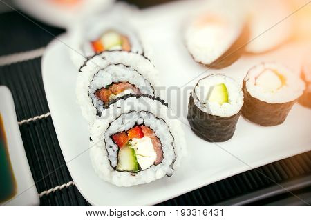 Homemade sushi on plate. sushi maki do it yourself diy concept