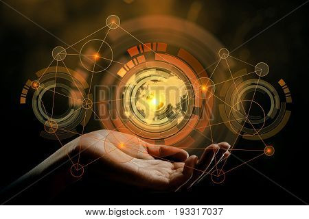Close up of hand holding abstract digital pattern with map on dark background. Touchscreen concept. Double exposure