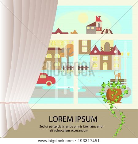 Autumn colorful landscape banner. Window view of sunny weather. Small town landscape in flat style. Vector illustration eps 10