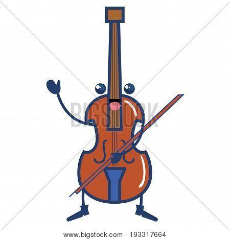 cello musical instrument kawaii character vector illustration design