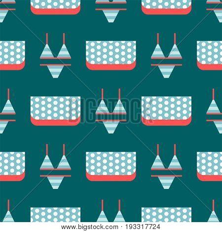Beachwear bikini cloth fashion looks vacation lifestyle women seamless pattern sea light beauty clothes vector illustraton. Travel different flat vector summer male female swimsuit.