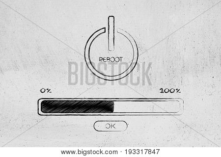 Reboot Symbol With Progress Bar Loading