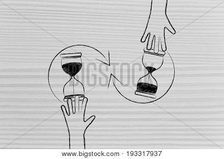Hand Turning An Hourglass