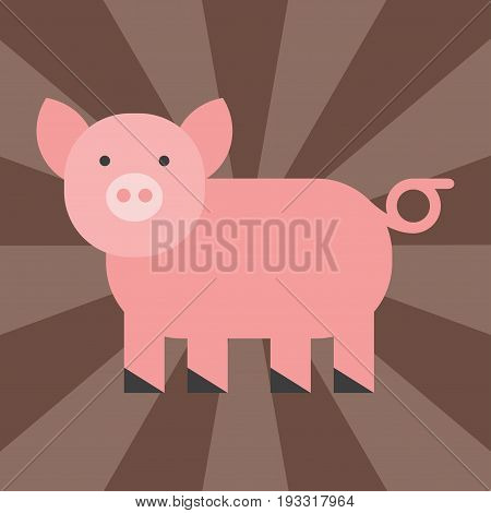 Cute pig cartoon animal pink agriculture farm mammal domestic piglet character vector illustration. Nature smile snout farming pet little rural piggy livestock