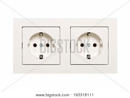 Empty unplugged european wall outlet close up isolated on white background