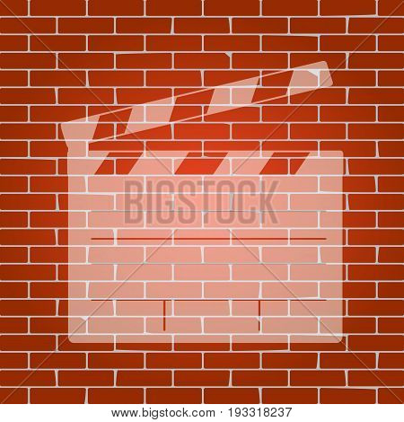 Film clap board cinema sign. Vector. Whitish icon on brick wall as background.