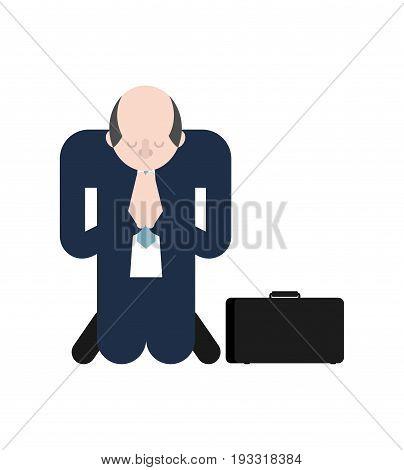 Man Is Praying On His Knees. Prayer To God