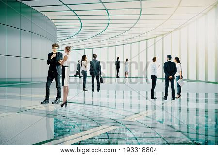 Businessmen and women communicating in transparent glass building. Meeting concept. 3D Rendering