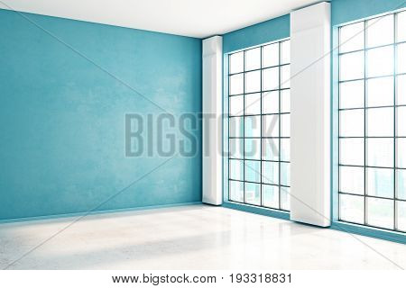 Side view of unfurnished spacious blue interior with windows city view and sunlight. Mock up 3D Rendering
