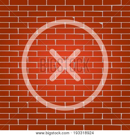 Cross sign illustration. Vector. Whitish icon on brick wall as background.