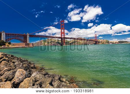 Panoramic shot of Golden Gate Bridge in San Francisco, California, USA
