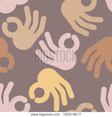 Okay Hand Sign Seamless Pattern. Positive Consent Symbol Background
