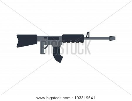 Machine Gun Isolated. Military Rifle On White Background. Weapons