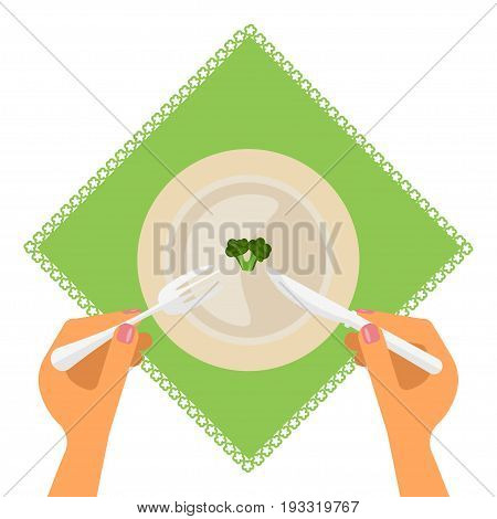 Dieting and nutrition plan. Diet food on plate. Weight loss and Slimming concept. Vector illustration in Flat style