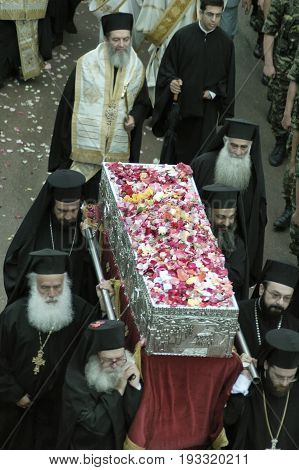 Greek Orthodox Archbishop carrying the Relics Of Saint John the Russian. May 27 2005 - Prokopi Evia Greece