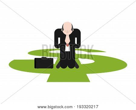 Prayer For Money. Businessman Is Praying On His Knees To Dollar.