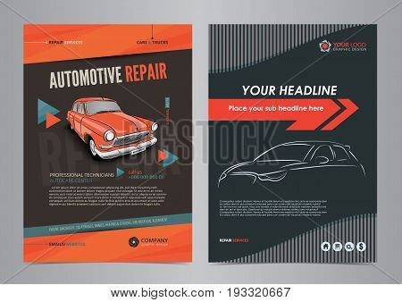Auto Services Business Flyer layout templates automotive repair magazine cover car repair shop brochure mockup flyer. Vector illustration.