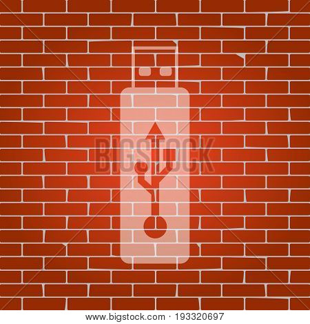 Vector USB flash drive sign. Vector. Whitish icon on brick wall as background.