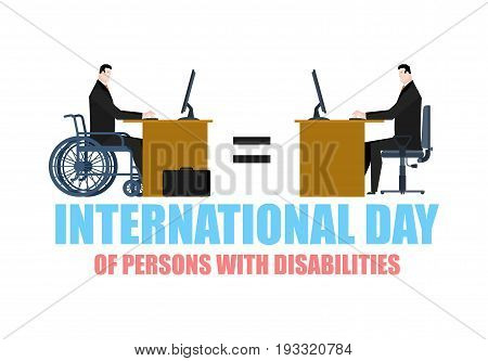International Day Of Persons With Disabilities. Disabled At Work. Manager On Wheelchair At Table. Eq