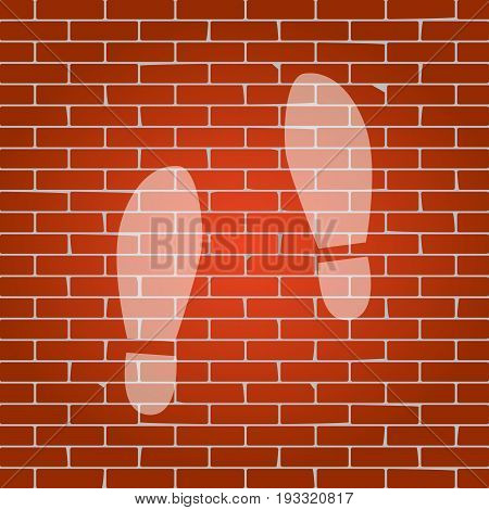 Imprint soles shoes sign. Vector. Whitish icon on brick wall as background.