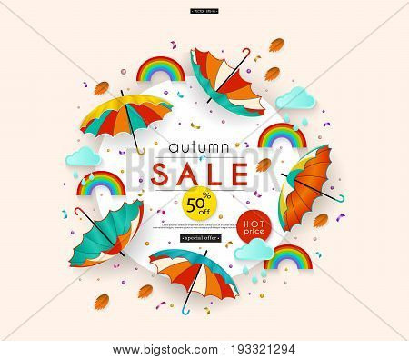 Autumn Sale. Stylized multicolored umbrellas, rain, leaves, clouds, rainbow, confetti. Message. Abstract pattern for advertising, banners, posters, flyers, leaflets, signboards. Vector illustration