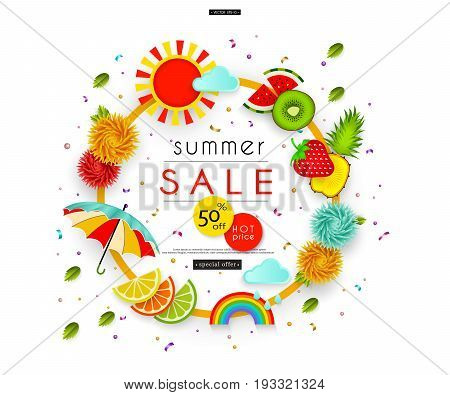 Summer Sale. Stylized multicolored flowers, umbrella, leaves, clouds, rainbow, sun, fruit. Message Abstract pattern for advertising, banners, posters, flyers, leaflets, signboards. Vector illustration