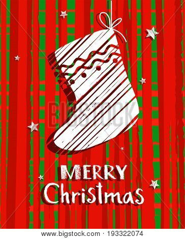 Christmas card with sock, red, vector. Red, mottled background, white sock and white inscription in English