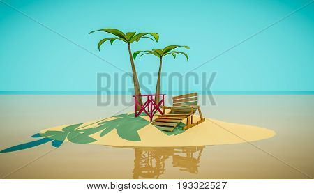 Beach chaise longue under palm tree and a table