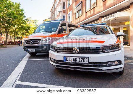 KIEL / GERMANY - JUNE 20 2017: german ambulance car from Johanniter stands on public event Kieler Woche.