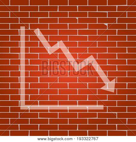 Arrow pointing downwards showing crisis. Vector. Whitish icon on brick wall as background.