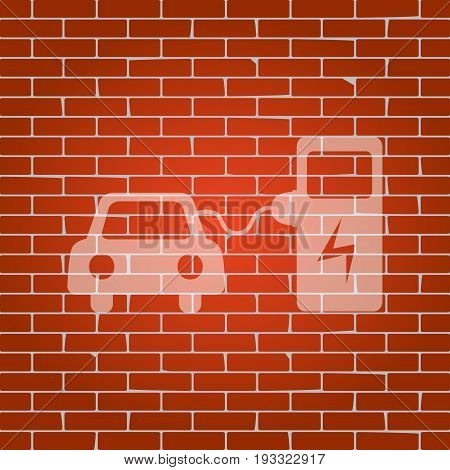 Electric car battery charging sign. Vector. Whitish icon on brick wall as background.