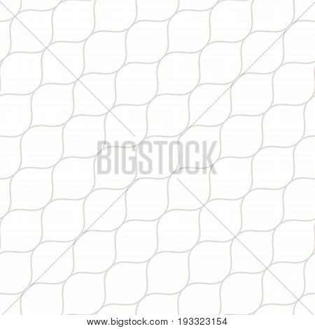 Vector seamless pattern, thin diagonal wavy lines white & beige. Texture of mesh, fishnet, lace, weaving, smooth grid. Subtle geometric background. Design for prints, fabric, cloth, textile, decor.