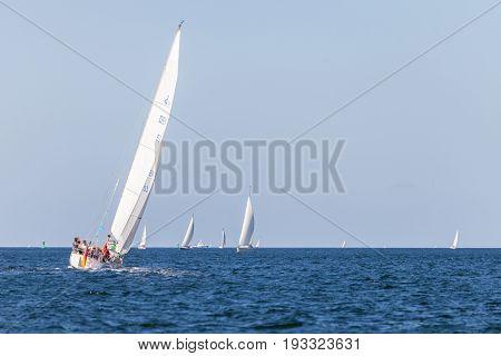 KIEL / GERMANY - JUNE 20 2017: a sailing ship drives in water on public event Kieler Woche.